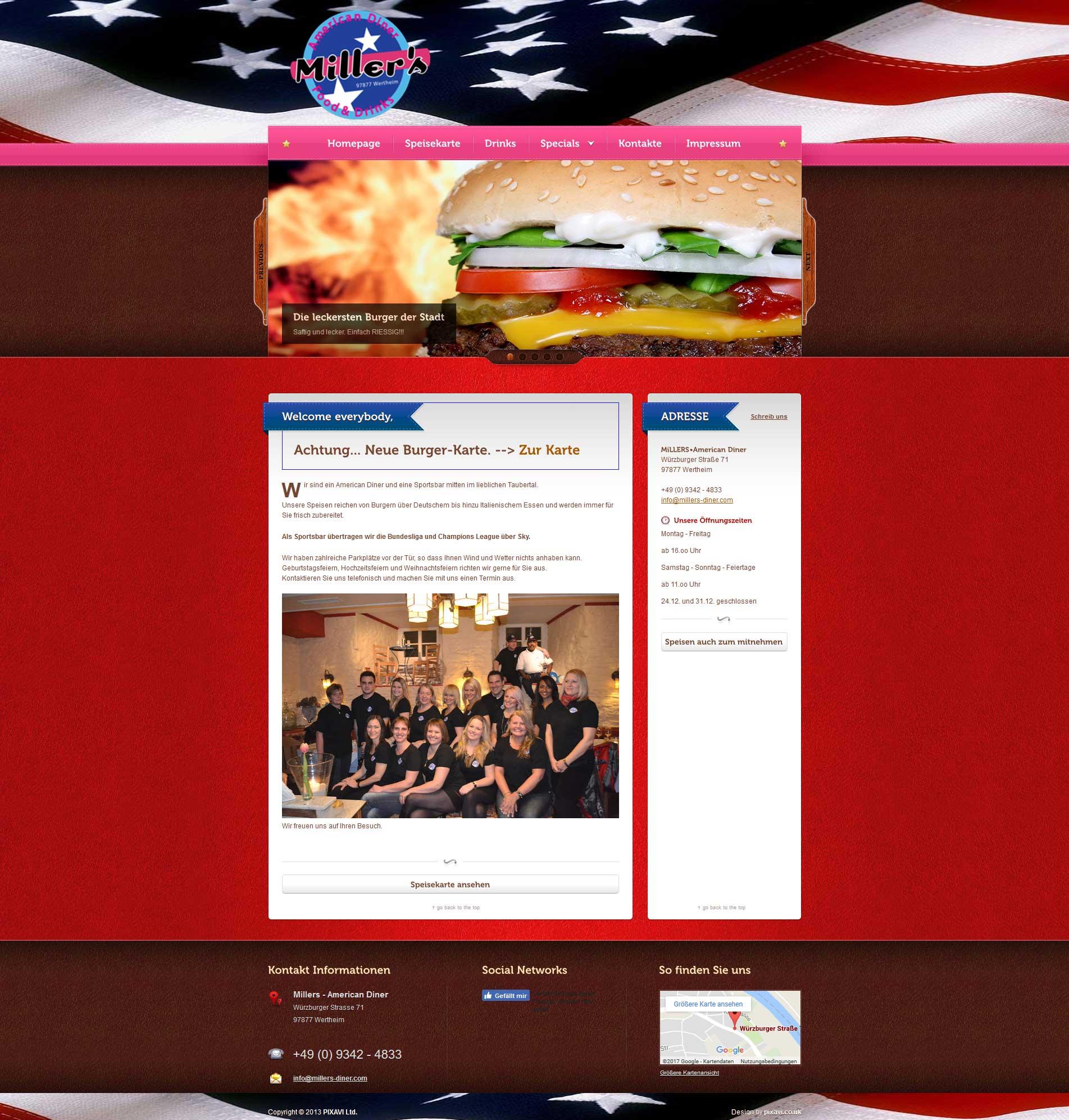 Millers American Diner | Webdesign